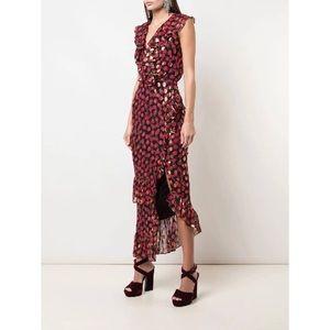 SALONI Anita silk blended ruffle wrap dress
